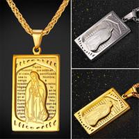senhor aço venda por atacado-U7 Oratio Dominica Senhor Oração Jóias Abençoado Virgem Maria Pingente de Colar Banhado A Ouro / Aço Inoxidável Cruz Encantos Mulheres / Homens Acessórios