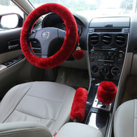 Wholesale Steering Wheel Skins - 3PCS Australian RED Sheep Skin Wool Fuzzy Car Steering Wheel Cover Super Soft