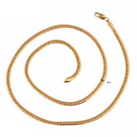 "Wholesale Necklace Snake Chain 4mm Gold - Unisex Yellow Gold Color 4MM Wide 24"" 60cm Long Snake Chain Necklace Fashion Women Mens Jewelry Bijoux kolye collier ketting"