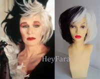 Wholesale Mixed Halloween Costumes - Deluxe Cruella Deville Voluminous Short Bob Costume Cos Wig Hair Half Black Half White Mixed Color Hit Halloween Cosplay Wig Heat Resistant