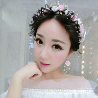 Wholesale Korean Wedding Flower Wreath - 2017 Wedding dress accessories wholesale bridal jewelry handmade crystal wreath headdress Korean wedding hair decoration Pink
