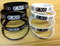 Wholesale Exo Jewelry - Wholesale 100pcs lot Black & White EXO sign Silicone Rubber Cuff Bracelet Wrist Band for Women & men Fashion Jewelry Bangles PAB87