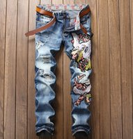 Wholesale Mens Embroidered Jeans - Mens Straight Denim Jeans Cranes Embroidered Hole Patches Hip Hop Blue High Quality #885