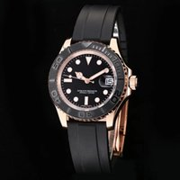 Wholesale Comfortable Folding - 2017 Top Quality Luxury Rose Gold Watch Black Dial comfortable rubber strap 40mm Automatic Mechanical Stainless Steel Men's Watches