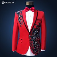 Wholesale Paillette Blazer - Wholesale- High Quality Plus Size Red Sequins Costume Men Paillette Singer Slim Performance Wedding Party Prom Suit & Blazer for Mens S-3XL