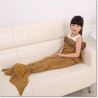 Wholesale Air Sofa Colorful Wholesale - colorful hot sale 140*70cm Children blanket mermaid tail knitting blanket air conditioning blanket sofa warmer sleeping bag