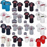 Wholesale Indian Series - Indians Jersey 12 Francisco Lindor 11 Jose Ramirez 24 Andrew Miller 22 Jason Kipnis 28 Corey Kluber Blank Baseball World Series Jerseys