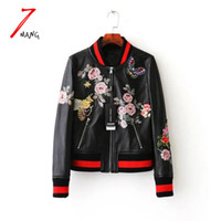 Wholesale Floral Designs Patterns - Wholesale- Plus size 2017 autumn women street black embroidery flower printing pu leather baseball jacket long sleeve luxury bomber jacket