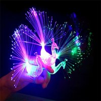 Wholesale Peacock Christmas Decor - Wholesale- New Creative Peacock Finger Lights Kids LED Flash Glow Rings Lamps Christmas Party Decor Children Birthday Gifts Toys