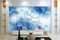 unterwasser 3d wandmalereien für wände großhandel-Maßgeschneiderte 3d wandbild transparent unterwasserwelt tapete für wände foto wandbild für wohnzimmer