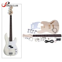 Wholesale Diy Bass Electric Kit - Wholesale-Bass Style 4-String Electric Bass Solid Basswood Body Maple Neck Rosewood Fingerboard DIY Kit Set Top Class Material