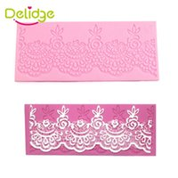 Wholesale Silicone Lace Mats - Delidge 1 pcs Flower Lace Cake Mat DIY Silicone Lace Chiffons Mould For Fondant Cake Decorating Square Silicone Lace Mold