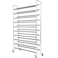 Wholesale Chrome Stands - 50 Pair Free Standing 10 Tier Shoe Tower Rack Chrome Metal Shoe Rack