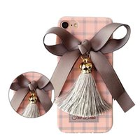 Lovely Bowknot Tassel Case com Lanyard Deer Pattern Cover para iPhone 7 6s 6 plus Opp Bag