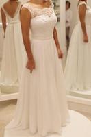 Wholesale Images For Chiffon Dresses - Boho Cap Sleeve Vintage Pearls 2018 Wedding Dress Plus Size Bridal Gown Open Back Lace Wedding Dress Chiffon Dress For Bride