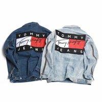 Wholesale Denim Jean Jacket Coat - New Ripped Denim jacket hip hop streetwear printing loose men women unisex broken jean jackets,Kanye west y-3 couple denim coats for men