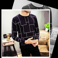 Wholesale Cheapest Black Striped Shirt - Cheapest Man T-shirt Vogue Korean Style Grid Plaid Pattern Round Neck Long Sleeves Pullover T-shirt Navy