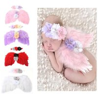Wholesale Flower Photographs - Silk Lace Baby Headband Angel Wings Feature Rose Flower Head Wrap Set Soft Hairband Infant Head band Hair Stick photograph Accessory