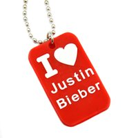 "Wholesale Justin Bieber Pendant Necklace - Wholesale Shipping 50PCS Lot I Love Justin Bieber Silicon Dog Tag Necklace with 24"" Ball Chain"
