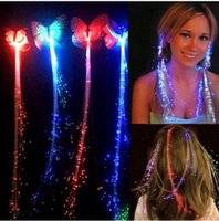 ingrosso parrucche chiare-Colorful Butterfly Light Braids LED Parrucche Glowing Flash LED Capelli Treccia Clip Haripin Decorazione Ligth Up halloween Natale accessor