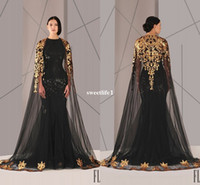 Wholesale Mermaid Prom Dress Pageant Formal - Black Arabic Muslim Evening Dresses Tulle Cloak Gold and Black Sequins Crew Neck 2016 Plus Size Mermaid Formal Wear Long Pageant Prom Dress