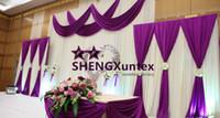 cortina púrpura de la boda al por mayor-La cortina del contexto del color blanco de la boda con Swag color púrpura cubre la tela Envío libre