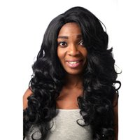 outre lace wigs - Mixed hair wigs Outre Machine making L Part Lace Front Wig STUNNA JET BLACK Machine making wig Big wave hair Black fashion wig