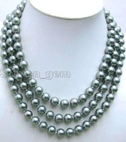 "Wholesale Titanium Rope Necklace Sale - Details about SALE Big 10MM Round Silver Gray Sea Shell Pearl 17-19"" 3 strands Necklace-ne5841"