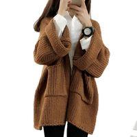 Wholesale Loose Bat Sleeve Knitting Coat - Wholesale-Autumn Winter New Korean Cardigan Sweater Women 2016 Thick Loose Bat Sleeve Long Sleeve All-math Hot Selling Knit Sweaters Coat