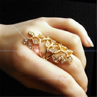 Wholesale leaf rings for sale - Group buy Hollow Leaf Ring DHL Fashion Gold Plated Vintage Luxurious Exquisite Hand Trend Crystal Jewerly for Woman Gift