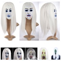 Wholesale rubber halloween mask white resale online - Horrible Creepy Toothy Ghost Mask Halloween Costume Prop Latex Rubber Halloween Mask Masquerade Masks Men Women