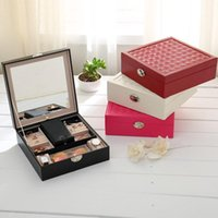 Wholesale Wholesale Jewel Storage Boxes - Fashion jewel box jewelry box casket leather jewelry boxes PU jewellry case lady casket Multi-functional storage box XN-JB003