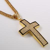Wholesale Jesus Cross Real - Original Men Hip Hop 18k Real Gold Silver Plated Jesus Cross Pendant Necklace Rhinestone Cross Christian Long Chain