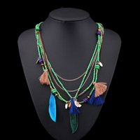 Wholesale Ethnic Long Necklaces - 2017 Fashion Multilayer Woven Long Feather Ethnic Bohemian Statement Necklaces Pendants Ethnic Maxi Necklace Women Jewelry