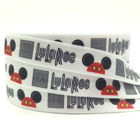 Wholesale High Quality quot LuLaRoe Mickey Print Fold Over Elastic yards Mickey Head FOE Ribbon Webbing for Hair Tie DIY Headwear Hair Accessories