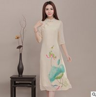 Dress Printing New Style Summer Cotton and Linen Cheongsam China Wind Lotus Retro Girls Beautiful Gentlewoman