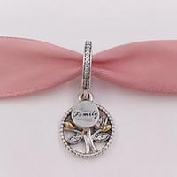Wholesale Authentic Pandora Family Charm - Authentic 925 Sterling Silver Beads 14K Family Heritage Pendant Charm Fits European Pandora Style Jewelry Bracelets & Necklace 791728CZ