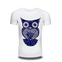 Wholesale Clothing Owl Designs - Camping T-Shirts T Shirt Men men's Clothing 2017 Mens Printed Owl Design Tops & Tees T Shirt Men Short Sleeve Slim T shirt Homme XXXL free