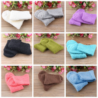 Wholesale Girls Thick Warm Socks - Wholesale- 2016 Winter Fashion Womens Casual Fuzzy Thick Warm Candy Colors Slipper Socks Ladies Girls Hosiery