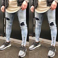 Wholesale Men S Denim Pants Wholesale - Wholesale- 2017 new fashion summer fake zippers slim pencil solid Men's Ripped Skinny Biker Jeans Destroyed Frayed Slim Fit Denim Pants Q