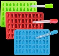 Wholesale Jelly Rubber Fda - 100pcs Fashion Kitchen Tools Mold 1 Set 50 Cavity Silicone Gummy Bear Chocolate Mold Candy Maker Ice Tray Jelly Moulds