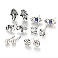 Wholesale Wholesales Rhinestones Studs - 6pairs set Multi shapes stud Earrings for women & girls Rhinestones elephants earrings fashion turquoise stud earrings sets jewelry for gift