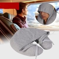 Wholesale U Shaped Airplane Pillow - 4 Color Hooded U Shape Travel Pillow for Airplane Inflatable Neck Pillow Travel Comfortable Pillows for Sleep Air Cushion CCA6442 20pcs