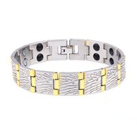 Wholesale East Relief - New Design Copper Wood textured Magnetic Therapy Bracelet for Arthritis Relief Link chain bracelet wristband wholesale