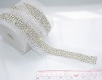Wholesale Crystal Sew 5mm - Wedding cake rhinestone banding,4rows1yard lot clear rhinestone with silver base white fabrice stage sew on patches chain