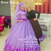 islamische blumen großhandel-3D Blumen Ballkleid Islamische Brautkleider 2020 High Neck Long Sleeves Lila Tüll Türkisch Arabisch Dubai Vestido De Novia Brautkleider