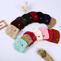 Wholesale Christmas Fedora Hat - Unisex CC Trendy cap Fedora Knitted Hats Luxury Cable Slouchy Beanie Winter Fashion Beanies Outdoor Ski Hats Slouch cap 16 color KKA1605