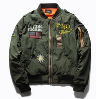Wholesale Women Plus Size Baseball Jacket - men women Hot Sale Mens Spring MA1 Pilot Bomber Jacket Thin Military Army Flying Tigers Cool Baseball Flight Jacket Plus Size M-4XL MA131