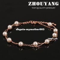 Wholesale Rose Gold Anklets - Top Quality ZYA028 Imitation Pearl Rose Gold Color Anklets Jewelry Austrian Crystals Wholesale