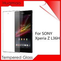 Wholesale Xperia Z Protective Cover - Premium Version HD Tempered Glass Screen Protector For SONY Xperia Z L36H Protection Cover Protective Film Sticker On The Phone